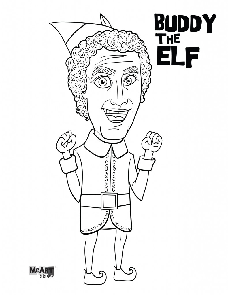 Buddy the Elf & Jovie Coloring Pages | McIllustrator