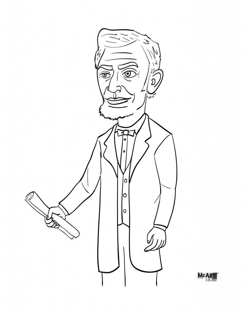 Abe lincoln coloring page mcillustrator for Lincoln coloring pages