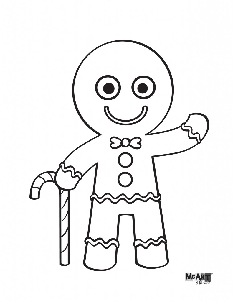 Gingerbread Man Coloring Page  McIllustrator